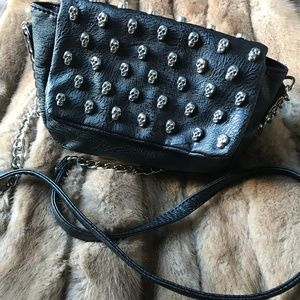 Yoki Skull Studded Small Black Crossbody Purse